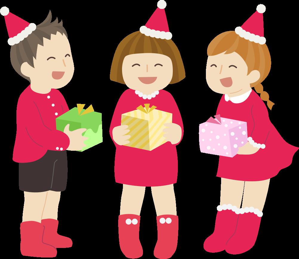クリスマスプレゼントを貰う子供のかわいいイラスト(フリー、無料)