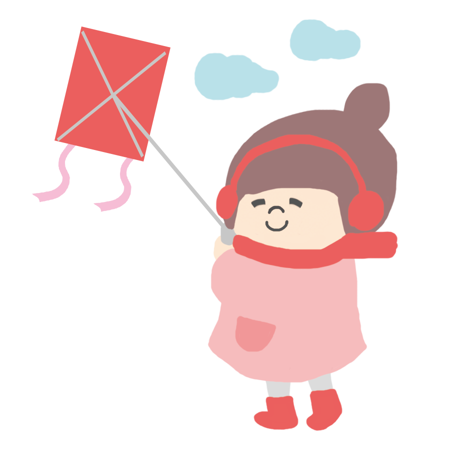 凧揚げをする子供のかわいイラスト画像素材(無料、フリー)
