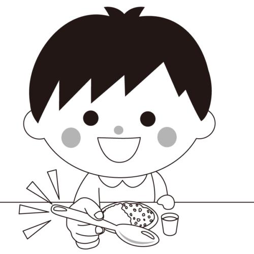 スプーン 持つ 子供 イラスト 白黒 モノクロ