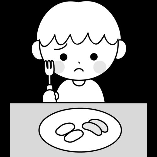 給食 残す イラスト 子供 白黒 モノクロ