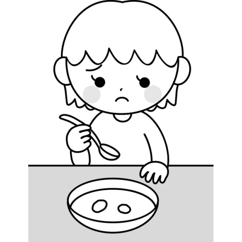 食事 好き嫌い 子供 イラスト 白黒 モノクロ