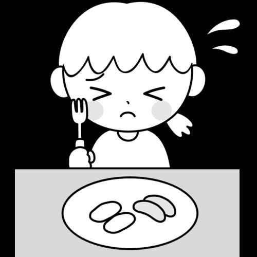 野菜 嫌い イラスト 子供 白黒 モノクロ