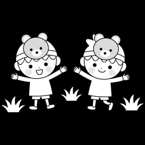 幼稚園 保育園 お遊戯会 イラスト 白黒 モノクロ