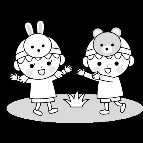 お遊戯会 衣装 イラスト 白黒 モノクロ