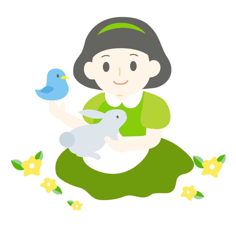 童話の白雪姫と動物のかわいイラスト画像素材(フリー、無料)