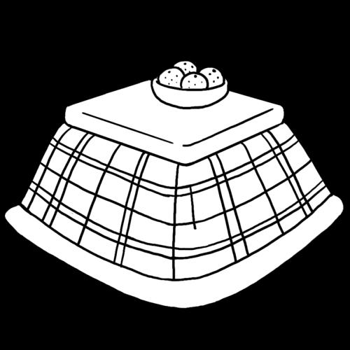 冬 コタツ イラスト 白黒 モノクロ