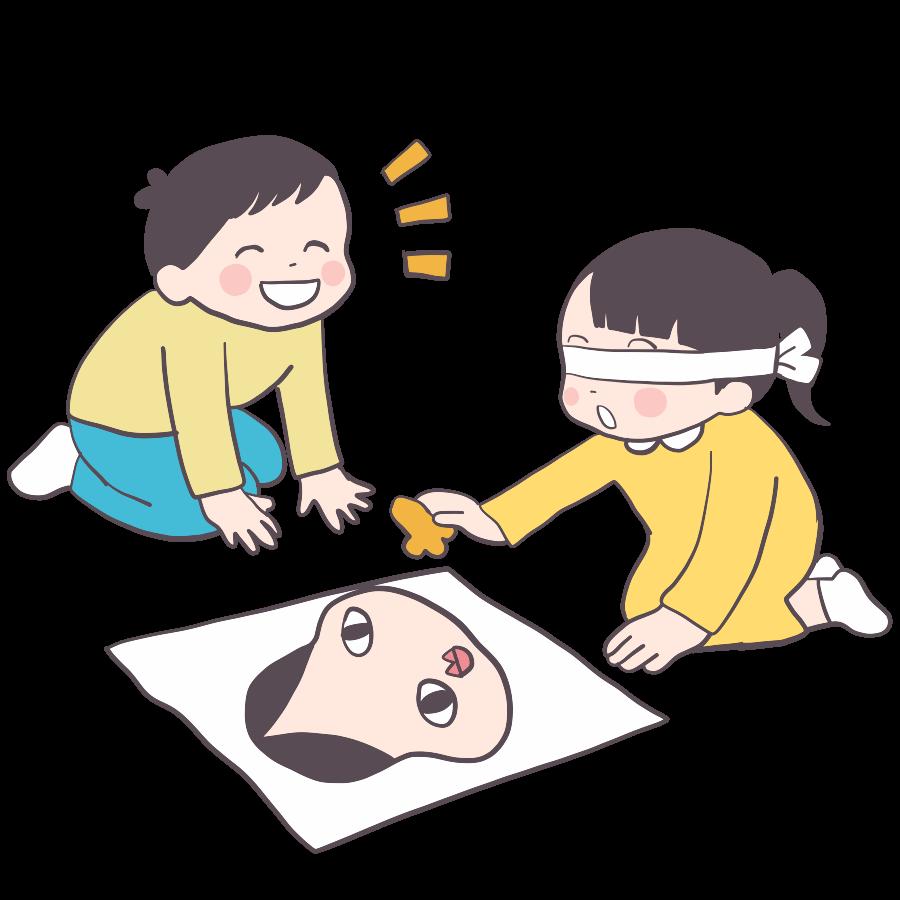 福笑いをする子供のかわいいイラスト画像素材(無料、フリー)