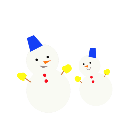 雪だるま 親子 イラスト かわいい