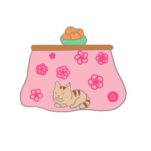 コタツ 猫 イラスト かわいい