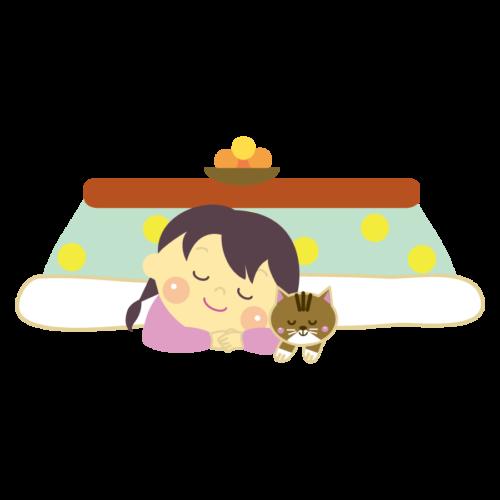 コタツ 眠る イラスト 猫