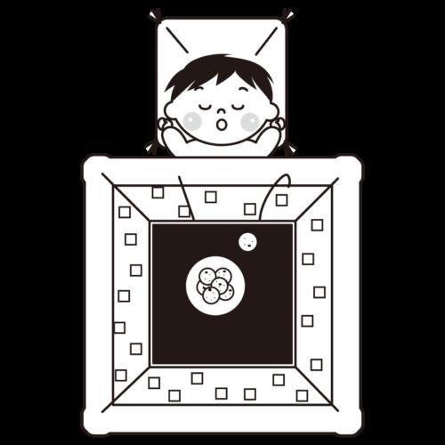 コタツ 寝る イラスト 白黒 モノクロ