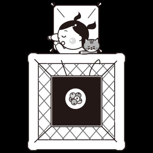 コタツ 女の子 イラスト 白黒 モノクロ