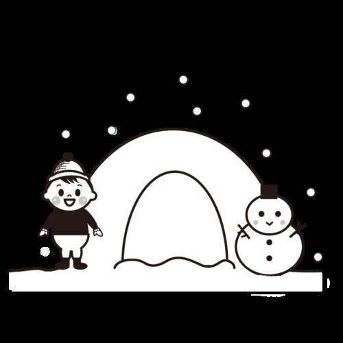 冬 雪遊び イラスト 白黒 モノクロ