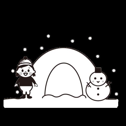 かまくら 雪 イラスト 白黒 モノクロ