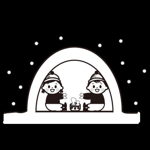 鎌倉 子供 イラスト 白黒 モノクロ