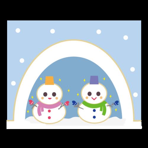鎌倉 雪だるま イラスト かわいい