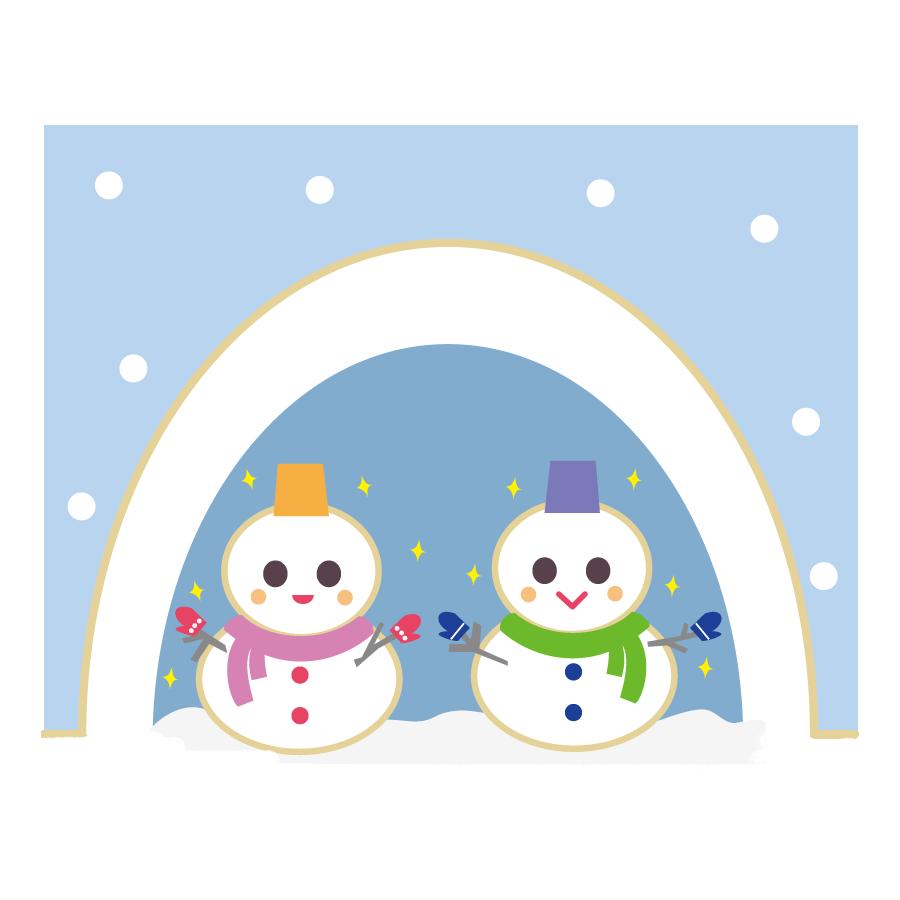 鎌倉と雪だるまのかわいいイラスト(無料、フリー)