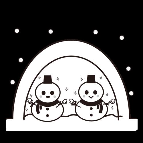 かまくら 雪だるま イラスト 白黒 モノクロ