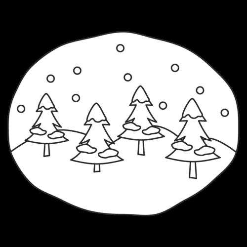冬 木 雪 イラスト 白黒