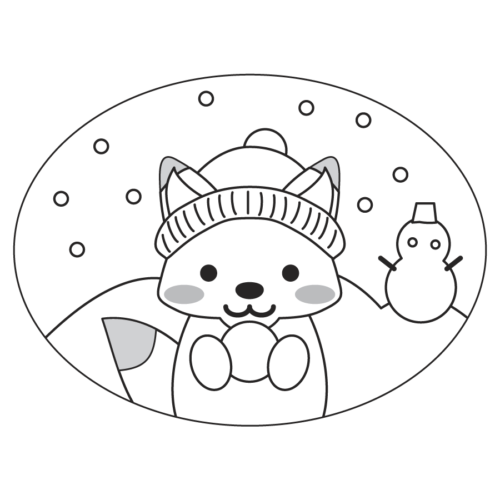 雪 キツネ イラスト 白黒