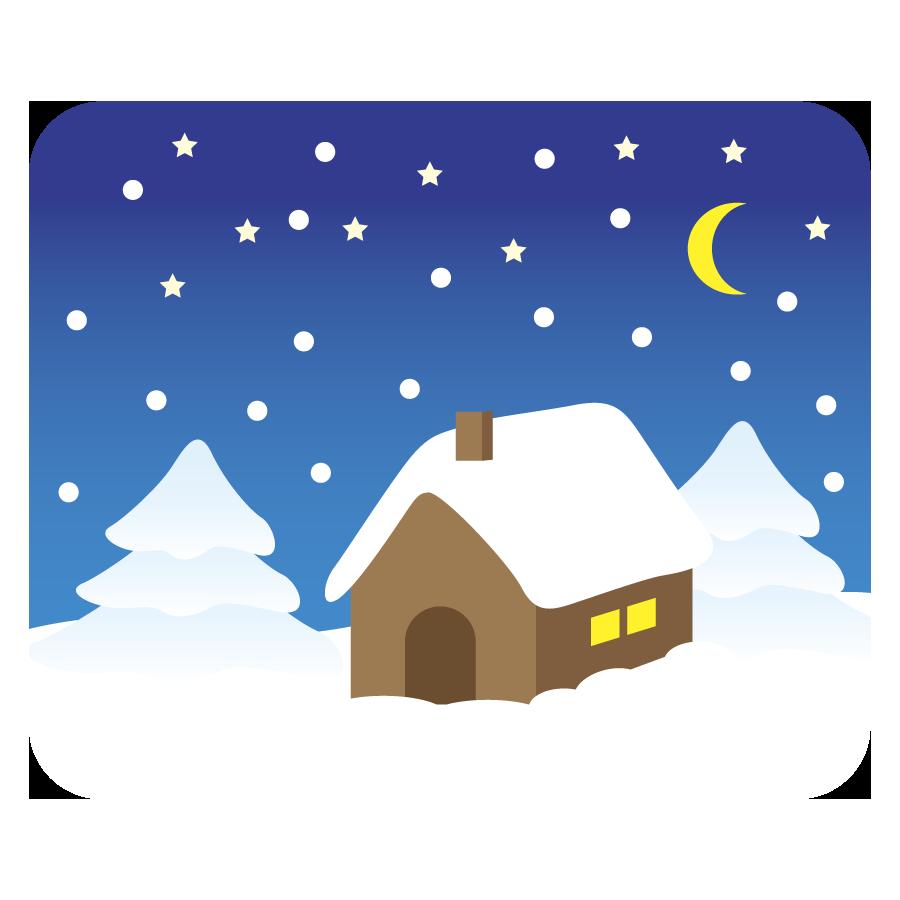冬の家に雪が積もっているイラスト(フリー、無料)