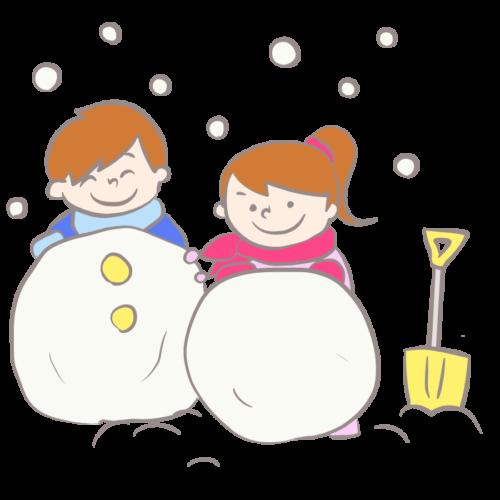 雪だるま 作る イラスト