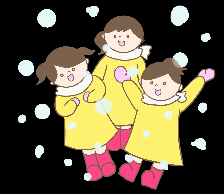雪遊びする女の子のかわいいイラスト画像素材(無料、フリー)