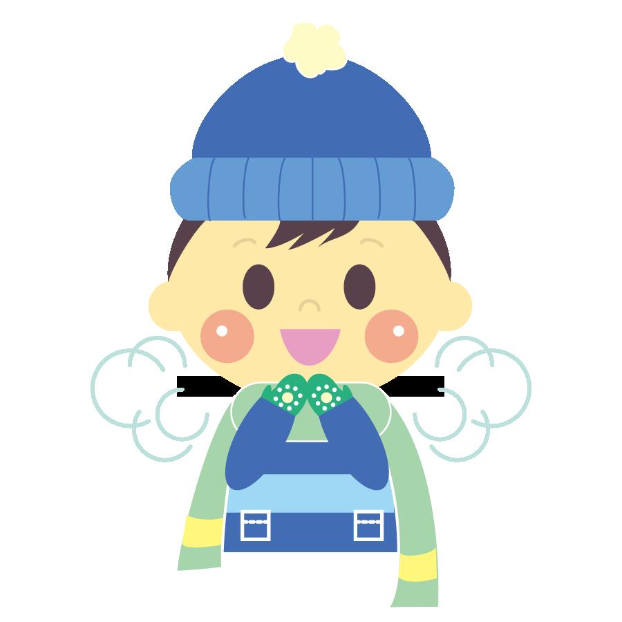 冬に白い息を吐く子供のかわいいイラスト画像素材(無料、フリー)
