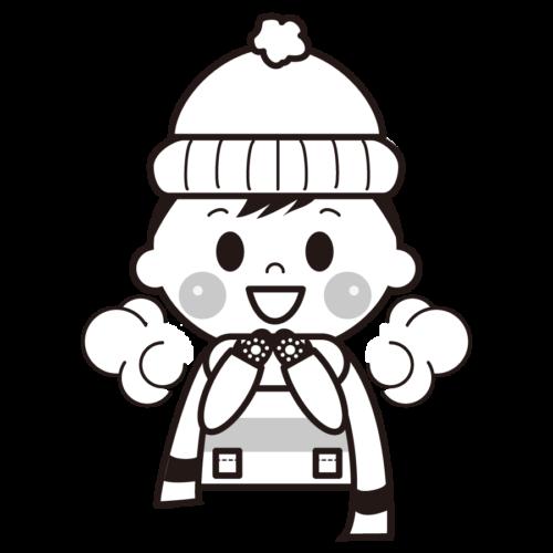 冬 白い息 イラスト 白黒 モノクロ