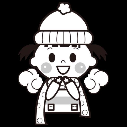 マフラー 子供 イラスト 白黒 モノクロ