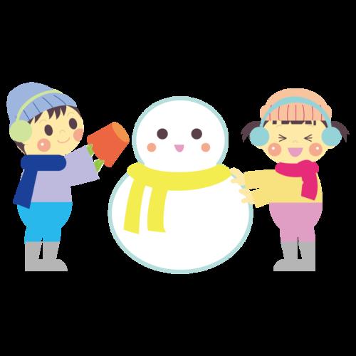 雪遊び 雪だるま イラスト 無料 フリー