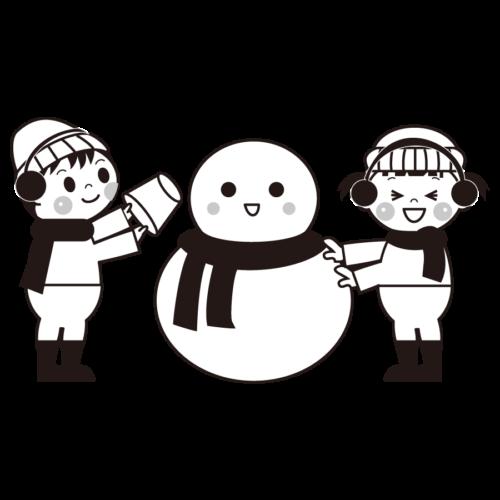 雪遊び 雪だるま イラスト 白黒 モノクロ
