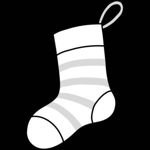 クリスマス 靴下 イラスト 白黒 モノクロ