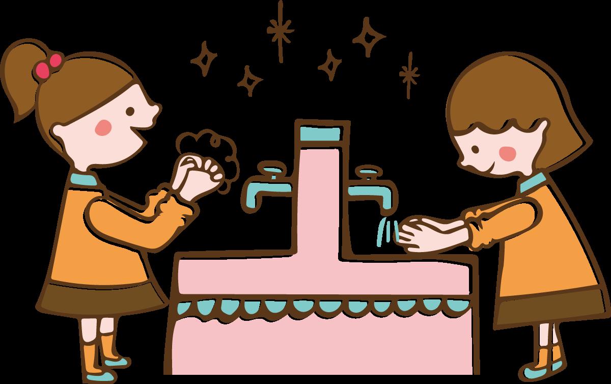 幼稚園で手洗いする子供達のかわいいイラスト画像素材(無料、フリー)