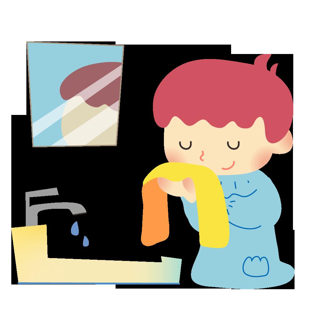 保育園や幼稚園で顔を洗う子供のかわいいイラスト画像素材(無料、フリー)