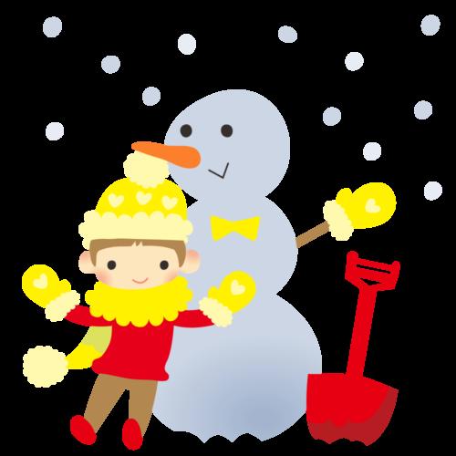 雪だるま 子供 イラスト かわいい