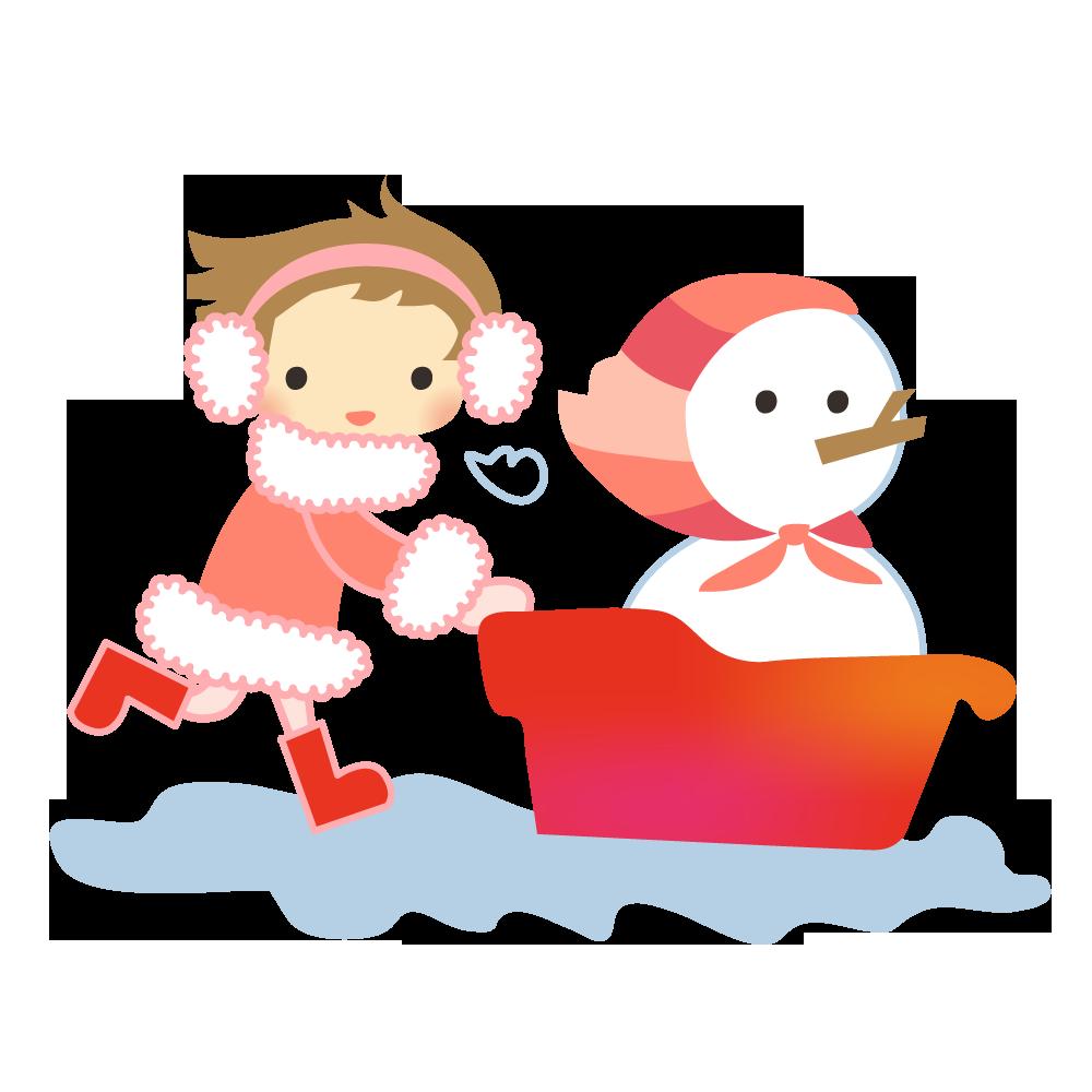 雪だるまと女の子のかわいいイラスト画像素材(フリー、無料)