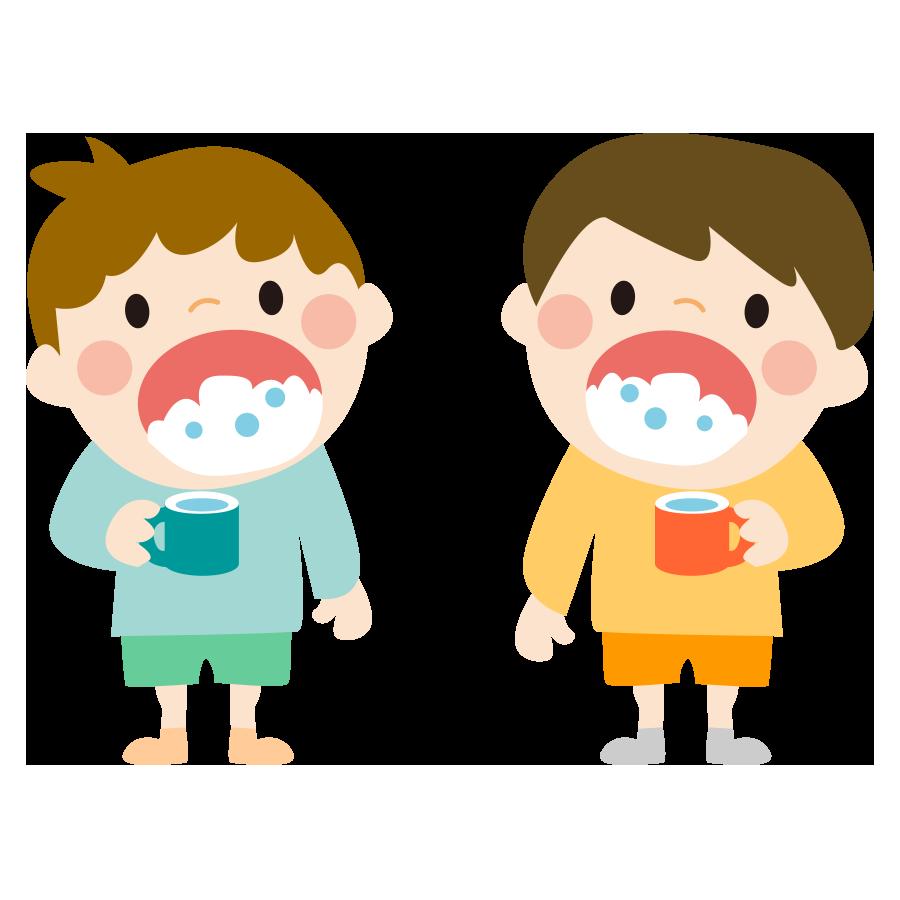 歯磨き後にうがいをする子供のかわいいイラスト画像素材(無料、フリー)