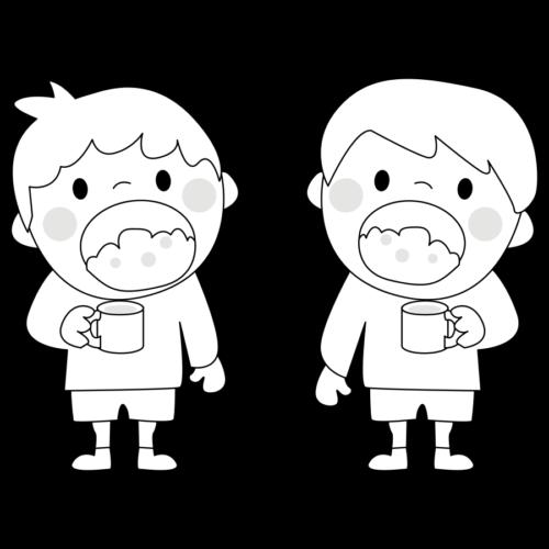 歯磨き うがい イラスト 白黒 モノクロ