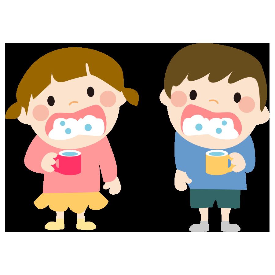 幼稚園でうがいをする子供のかわいいイラスト画像素材(無料、フリー)