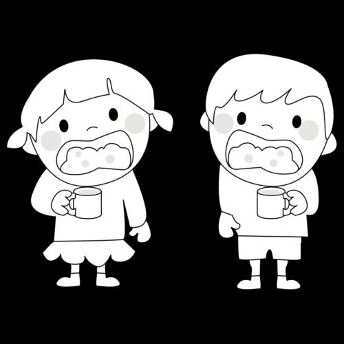 うがい イラスト 幼稚園 白黒 モノクロ