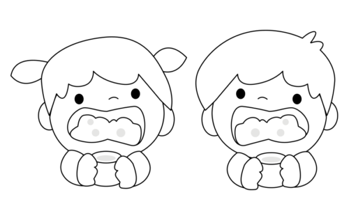 うがい 子供 イラスト 白黒 モノクロ