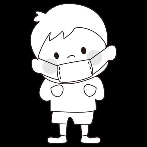 マスク イラスト 幼稚園 白黒 モノクロ