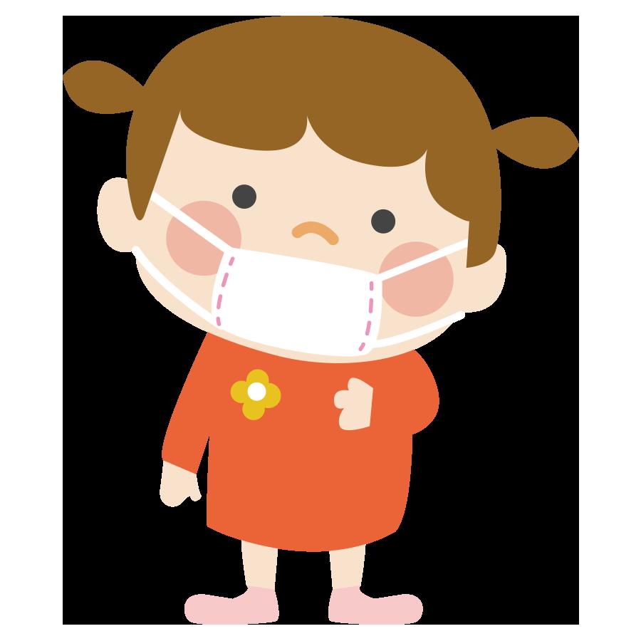 保育園でマスクをする子供のかわいいイラスト画像素材(無料、フリー)