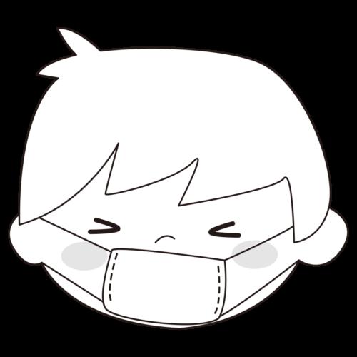 マスク イラスト 子供 白黒 モノクロ