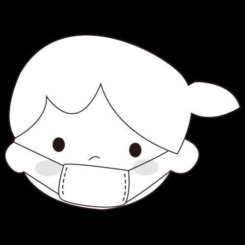 マスク イラスト 女の子 白黒 モノクロ