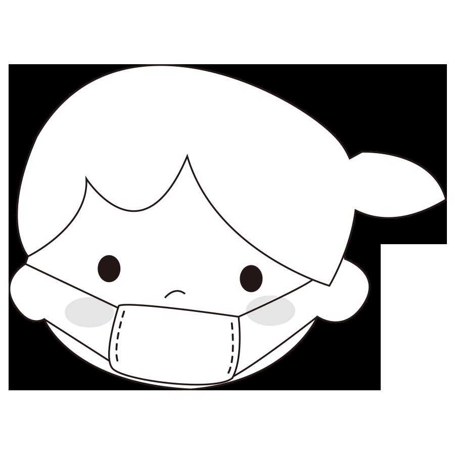 マスクをする女の子のかわいいイラスト画像素材(白黒 モノクロ)