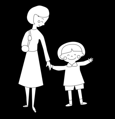 保育園 登園 イラスト 白黒 モノクロ