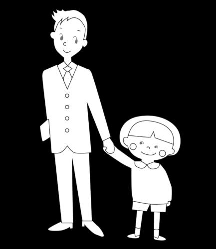 幼稚園 登園 イラスト 白黒 モノクロ