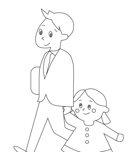 登園 幼児 イラスト 白黒 モノクロ